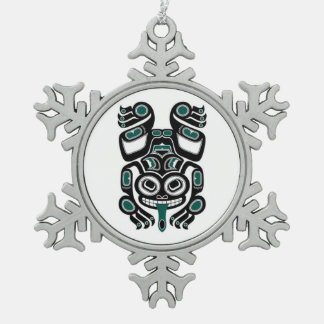 Blue and Black Haida Spirit Tree Frog Snowflake Pewter Christmas Ornament