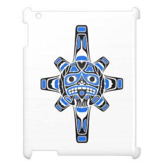 Blue and Black Haida Sun Mask on White Case For The iPad 2 3 4
