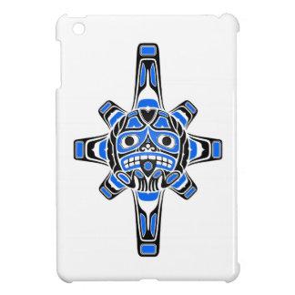 Blue and Black Haida Sun Mask on White iPad Mini Cover