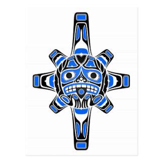 Blue and Black Haida Sun Mask on White Postcard