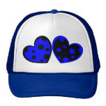 Blue And Black Hearts Hat