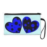 Blue And Black Hearts Wristlet Bag