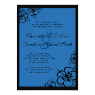 Blue and Black Hibiscus Flowers Custom Wedding Card