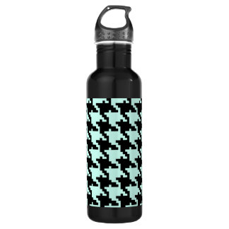 Blue And Black Hound's-Tooth Pattern Stainless Steel Water Bottle