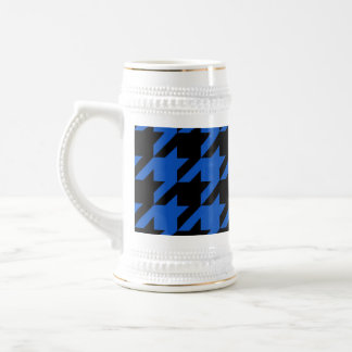 Blue and Black Houndstooth Patterned Beer Stein