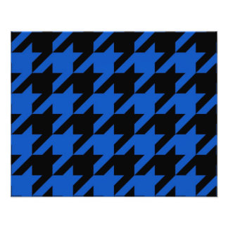 Blue and Black Houndstooth Patterned Photograph