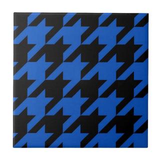 Blue and Black Houndstooth Patterned Tile