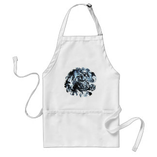 Blue and Black Ink Swirl Adult Apron