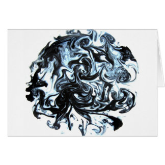 Blue and Black Ink Swirl Card