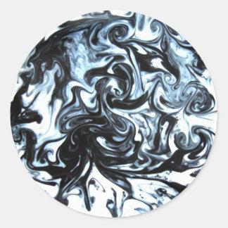Blue and Black Ink Swirl Classic Round Sticker