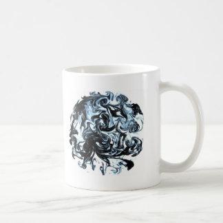 Blue and Black Ink Swirl Coffee Mug