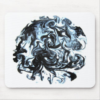 Blue and Black Ink Swirl Mouse Pad