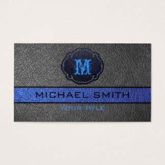 Blue and Black Leather Business Card