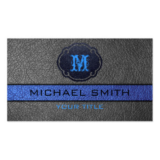 Blue and Black Leather Business Cards
