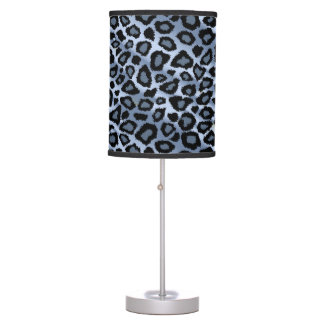 Blue and Black Leopard Animal Print Table Lamp