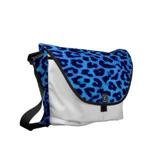 Blue and Black Leopard Print Skin Fur Messenger Bag
