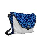 Blue and Black Leopard Print Skin Fur Messenger Bags