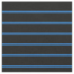 [ Thumbnail: Blue and Black Lines Pattern Fabric ]