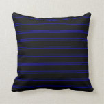 [ Thumbnail: Blue and Black Lines/Stripes Pattern Throw Pillow ]