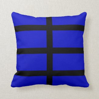 Blue and Black Lines Throw Pillow