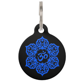 Blue and Black Lotus Flower Om Pet Name Tags