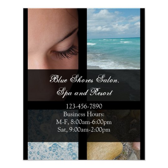 Blue and Black Luxury Spa Resort Theme Poster