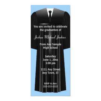 "Blue and Black Mens Graduation Invitation 4"" X 9.25"" Invitation Card"