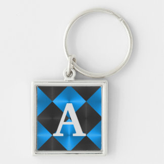 Blue and Black Metallic Looking Squares Keychain