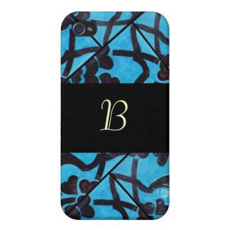 Blue and Black Mosaic Monogram  Cases For iPhone 4