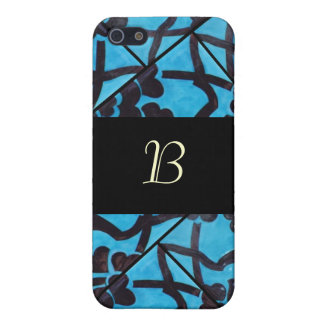 Blue and Black Mosaic Monogram  Cover For iPhone SE/5/5s
