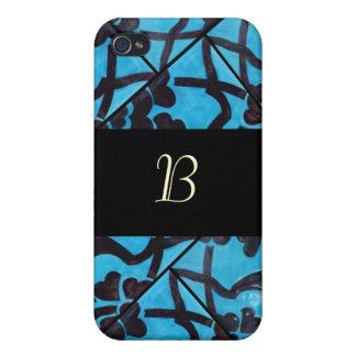 Blue and Black Mosaic Monogram  iPhone 4/4S Case