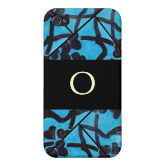 Blue and Black Mosaic Monogram  iPhone 4 Cover