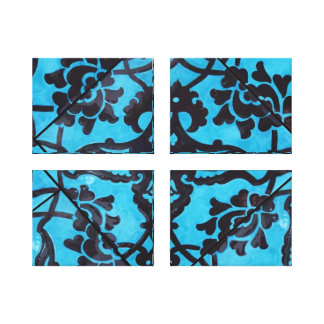 Blue And Black Mosaic Wrapped Canvas Prints