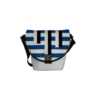 Blue and Black Nautical Mixed Stripe Courier Bag