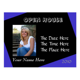 blue and black open house postcard