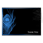 Blue and Black Peacock Greeting Card