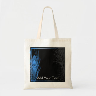 Blue and Black Peacock Tote Bag