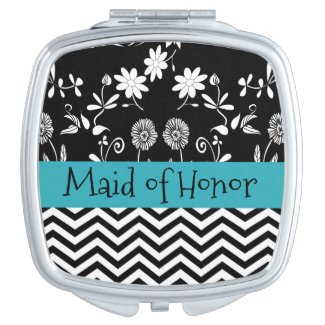 Blue and Black Personalized Mirror Compact