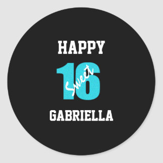 Blue And Black Personalized Sweet 16 Stickers