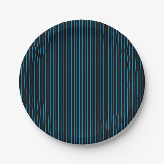 Blue and Black Pinstripe Paper Plates