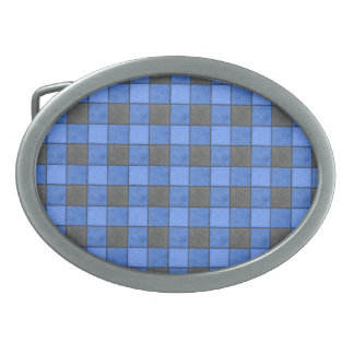 Blue and Black Plaid Check Belt Buckle
