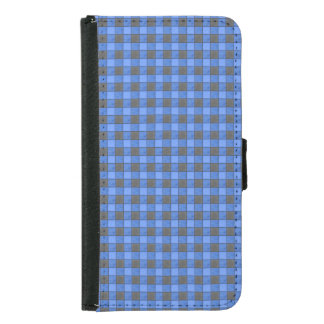 Blue and Black Plaid Check S5 Wallet Case