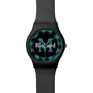 Blue and Black Plaid Monogram and Name Wrist Watch