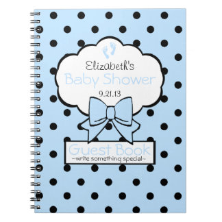 Blue and Black Polka Dot Baby Shower Guest Book Notebook