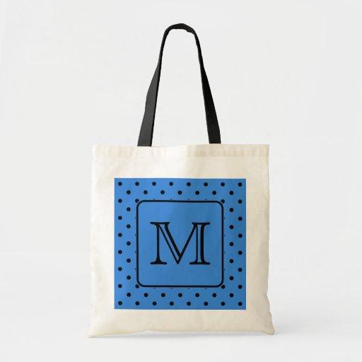 Blue and Black Polka Dot Monogram. Your Letter. Canvas Bag