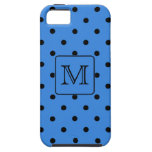 Blue and Black Polka Dot Monogram. Your Letter. iPhone 5 Cover