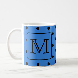 Blue and Black Polka Dot Monogram. Your Letter. Coffee Mug