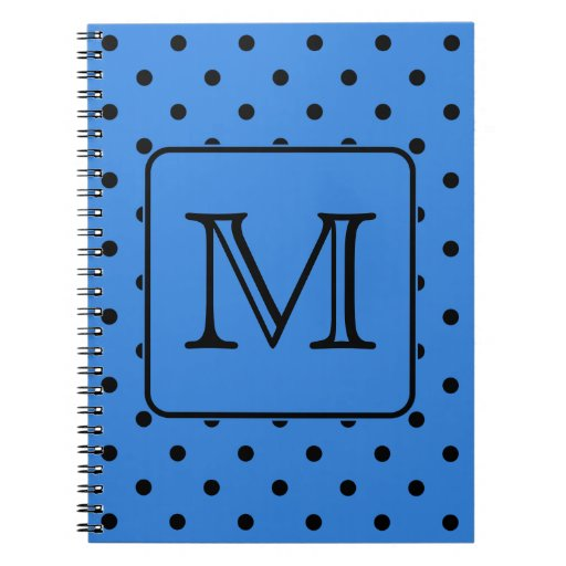 Blue and Black Polka Dot Monogram. Your Letter. Spiral Note Book