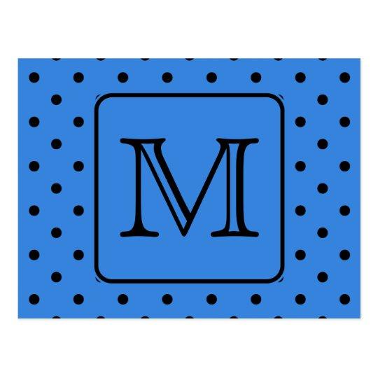 Blue and Black Polka Dot Monogram. Your Letter. Postcard