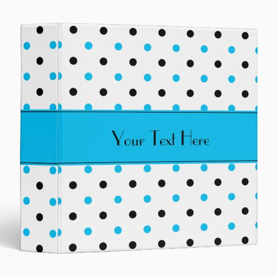 Blue and Black Polka Dots Binder